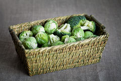 Brussels sprouts and broccoli. In a basket Royalty Free Stock Photo