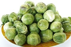 Brussels sprouts /Brussels cabbage/. Fresh raw brussels cabbage/brussels sprouts/ in isolated on white Royalty Free Stock Photos