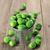 Brussels sprouts in bucket Stock Photo