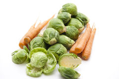 Brussels sprouts and carrots Royalty Free Stock Photo