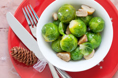 Brussels sprouts with chestnuts. Fresh cooked brussels sprouts with chestnuts Stock Photo