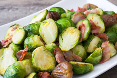Brussels sprouts with chestnuts and bacon Royalty Free Stock Image