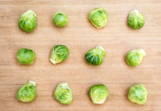 Brussels sprouts on cutting board Royalty Free Stock Photo