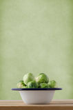 Brussels Sprouts in Enamel Cooking Pan Royalty Free Stock Images