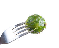 Brussels sprouts on fork Stock Image