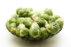 Brussels sprouts in the glass bowl Royalty Free Stock Photography