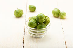 Brussels sprouts in a glass bowl Royalty Free Stock Image