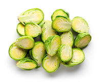 Brussels sprouts halves isolated on white from above Royalty Free Stock Images