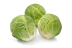 Brussels sprouts, isolated on a white background Stock Images