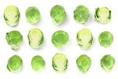 Brussels sprouts isolated on white background closeup. Top view. Flat lay. Set or collection.  royalty free stock photos