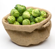 Brussels sprouts in jute bag Royalty Free Stock Photos