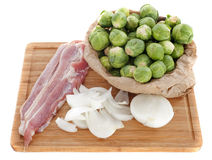 Brussels sprouts, onion and bacon Royalty Free Stock Photo
