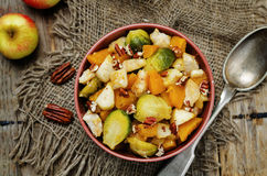 Brussels sprouts pumpkin apple chicken stew Stock Photo