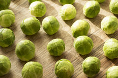 Brussels sprouts. Scattered on wooden background Royalty Free Stock Photography