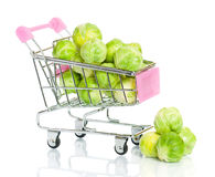 Brussels sprouts in the shopping cart Stock Photography