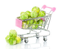 Brussels sprouts in the shopping cart Royalty Free Stock Images