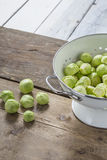 Brussels sprouts in a sieve on a table Royalty Free Stock Image