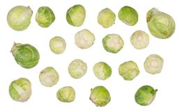 Brussels sprouts top view. On a white background isolation Royalty Free Stock Photo