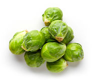 Brussels sprouts  on white, from above Royalty Free Stock Images