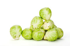 Brussels sprouts on white background Royalty Free Stock Photo