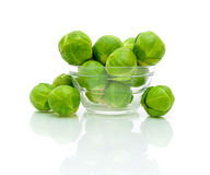 Brussels sprouts on a white background Stock Photos