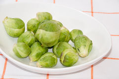 Brussels sprouts in a white bowl on a kitchen table cloth.  Royalty Free Stock Photos