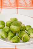 Brussels sprouts in a white bowl on a kitchen table cloth.  Stock Photos