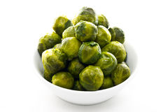 Brussels Sprouts in white plate Royalty Free Stock Images