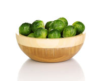 Brussels sprouts in wooden bowl Stock Photography