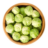 Brussels sprouts in wooden bowl over white Stock Photo