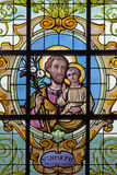 Brussels - St. Joseph on the windwopane in church Notre Dame aux Riches Claires by Jan van Keer (1904) Stock Photos