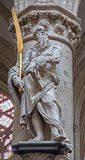 Brussels - Statue of st. Simon the apostle by Lucas e Faid Herbe (1644) in baroque style from gothic cathedral of Saint Michael an Stock Image