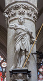 Brussels - Statue of st. Thomas the apostle by Jeroom Duquesnoy de Jonge (1634) in baroque style from gothic cathedral of Saint Mi Stock Photos