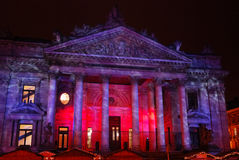 Brussels Stock Exchange. Illuminated for Christmas Royalty Free Stock Photos