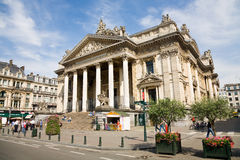 Brussels Stock Exchange. Brussels, Belgium - 2014, July 22 : The building of the Brussels Stock Exchange called the Bourse in Brussels, Belgium royalty free stock photos