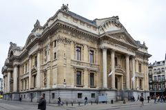 Brussels Stock Exchange built in the Neo-Renaissance and Second Empire architectural styles located in Brussels, Belgium Royalty Free Stock Photo