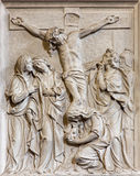 Brussels - Stone relief the Crucifixion of Jesus scene in church Notre Dame du Bon Secource. Royalty Free Stock Photography