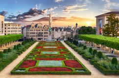 Brussels at sunset, Belgium Stock Image