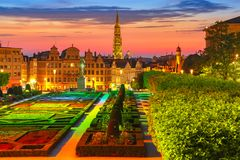Brussels at sunset, Brussels, Belgium stock images