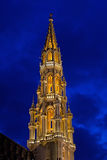 Brussels Tower at Night. The tower of the Hotel de Ville, in Grand Place, Brussels, Belgium Stock Images