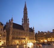 Brussels - The Town hall in evening Royalty Free Stock Photo