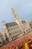 Brussels Town Hall during Flower Carpet Festival in Grand Place Stock Image