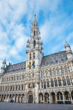 Brussels - Town hall gothic building. Palace was built between 1401 and 1455 and it is a UNESCO World Heritage Site. Stock Photo