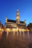 Brussels town hall by night - Belgium Stock Photo