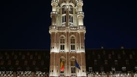 Brussels Town Hall at Night panoramic. View stock video footage