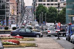 Brussels traffic. BRUSSELS - AUGUST 31: People drive in heavy traffic on August 31, 2009 in Brussels, Belgium. With 559 vehicles per 1000 people Belgium is 25th Stock Photography