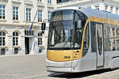 Brussels tram in center of the city Stock Photos