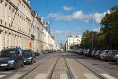 Brussels tram tracks Stock Photo