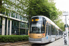 Brussels tramway in Avenue Louise, Belgium. View of the popular tramway transportation in Avenue Louise, Brussels, Belgium running in independent railways. It is Royalty Free Stock Photo