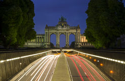 Brussels Triumphal Arch. A night view on a Triumphal Arch in Jubilee Park in Brussels Royalty Free Stock Photography